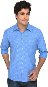 Magneto Mens Ice Blue Printed Shirts DA 4002
