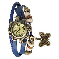 Round Dial Blue Leather Strap Womens Quartz Watch Uniqu
