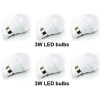 Led Bulbs 3 Watt Cool White (Set Of 6 Pcs)