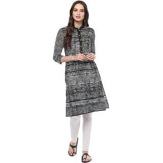 Jaipur Kurti Black & White Colour Printed Women'S Cotton Kurti