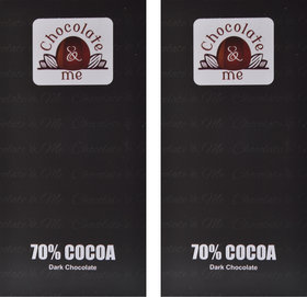 ChocolateandMe, 70 Cocoa Dark Chocolate, 180 grams (Pack of 2)