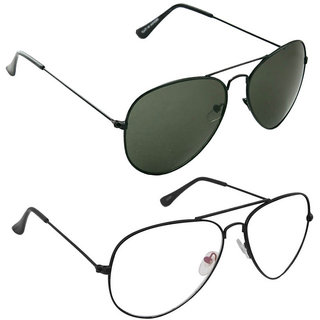 1c2a1aa346 Buy Magjons Fashion Combo Of Green And Clear Lens Aviator Sunglasses Online  - Get 77% Off