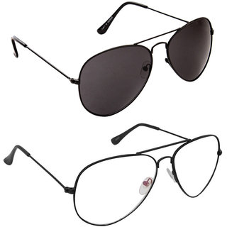 b9fa0ad4f7 Buy Magjons Fashion Combo Of Black And Clear Lens Aviator Sunglasses Online  - Get 78% Off