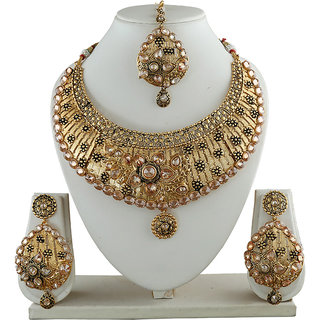 Anuradha Art Golden Finish Antique Shimmering Stone Wonderful Traditional Long Necklace Set For Women/Girls