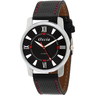 Oxcia Black Dial Black Strap Analog Watch For Men  Boys