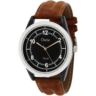 Oxcia Black Dial Brown Strap Analog Watch For Men  Boys