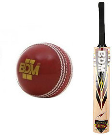 BDM Combo - Super Test 2000 Kashmir Willow Cricket Bat AND World Cup Leather Ball