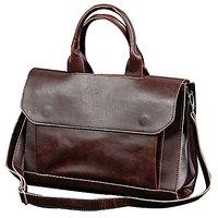 Men's PU Leather Laptop Briefcase Office Handbag Messenger Shoulder Bag Tote for Work