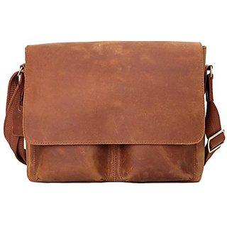 d221a6d40f8 Leathario Men s Shoulder Genuine Leather Laptop Messenger Bag Briefcase  Satchel