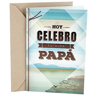 Buy Hallmark Vida Spanish Birthday Greeting Card For Dad Geometric Over Photo Online