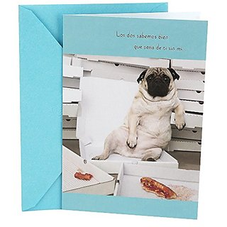 Buy Hallmark Vida Spanish Funny Birthday Greeting Card For Husband Pug With Pizza Online 731 From ShopClues