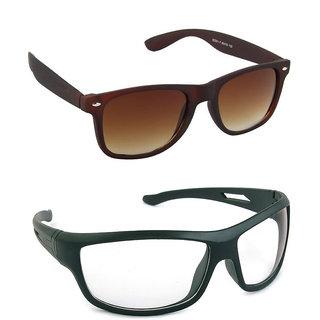 Magjons Fashion Combo Of Brown Wayfarer And Night Driving Sunglasses