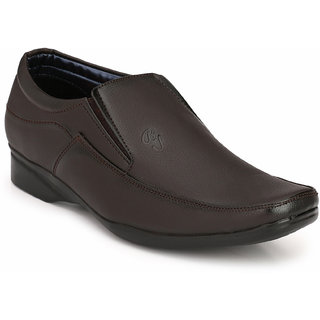 Eego Italy MenS Brown Slip -On Smart Formal Shoes