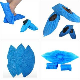 Disposable Plastic Shoe Cover, Water Resistance, Dust Safety, (Pack Of 100 Pcs)