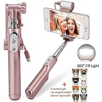 Xiaoou Mini Selfie Stick Monopod Rear Mirror and LED Flash Fill Light Handheld Extendable Wireless Bluetooth 3.0 Flashing selfie stick for iPhone Samsung Android IOS Cellphones (Rose gold)