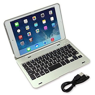 iPad Mini 4 Wireless Bluetooth Keyboard Case, DAXXIS Ultra-Slim Aluminum Folio Smart Clamshell Stand Case for Apple iPad Mini 4 (Silver)