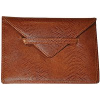 Budd Leather Company Lizard Print Photo Envelope, Cognac, 4.5 x 6.5