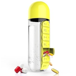 Ibs 600ml Pill Box Orgaanizer With Water Bottle Weekly Seven Compartments With Drinking Bottle -Yellow