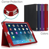 iPad Air Case, [CORNER PROTECTION] CaseCrown Bold Standby Pro (Red) with Sleep / Wake, Hand Grip, Corner Protection, & Multi-Angle Viewing Stand (Compatible w/ New iPad 2017 model)
