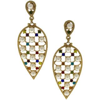 Anuradha Art Golden Finish Multi Colour Studded Shimmering Stoen Party Wear Fancy Long Earrings For Women/Girls