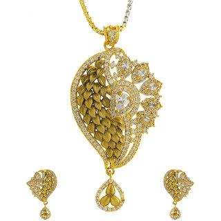 0fa42bffe5679a Anuradha Art Golden Tone Designer Wonderful Look Studded American Diamonds  Pendant Set For Women/Girls