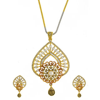 Anuradha Art Dazzling Oval Shape Styled With White Colour Stones American Diamonds Pendant Set For Women/Girls