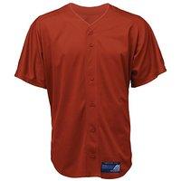 Mizuno Boy's Full Button Mesh Short Sleeve Baseball Jersey, Red, Small