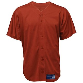 Mizuno Boy's Full Button Mesh Short Sleeve Baseball Jersey, Red, Small