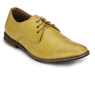 Eego Italy MenS Yellow Lace - Up Smart Formal Shoes