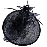 Womens Feather Mesh Net Sinamay Fascinator Hat With Hai