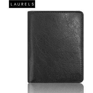 Laurels Aspire Black Color Book Style MenS Leather Wallet (LW-Asp-02-BK)