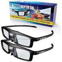 True Depth 3D NEW Firestorm LT Lightweight Rechargeable DLP link 3D Glasses for All 3D Projectors (Benq, Optoma, Acer, Vivitek, Dell Etc) and All DLP HD 3D TVs (Mitsubishi, Samsung Etc) Compatible At 96 Hz, 120 Hz and 144 Hz! (2 Pairs!)