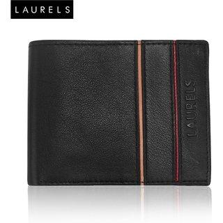 Laurels Enigma Black Genuine Leather MenS Wallet (LW-EGMA-020610)