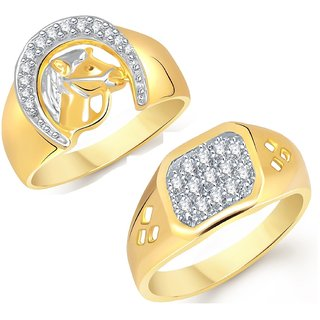 VK Jewels Gold and Rhodium Plated Alloy Ring Combo for Men - COMBO1426G VKCOMBO1426G18