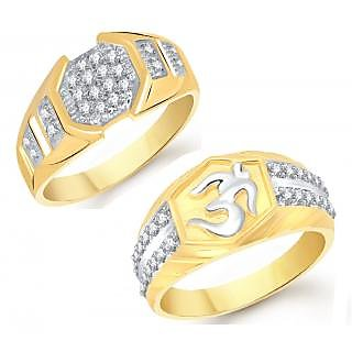VK Jewels Gold and Rhodium Plated Alloy Ring Combo for Men - COMBO1427G VKCOMBO1427G18