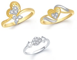 VK Jewels Gold and Rhodium Plated Alloy Rings Combo Set for Women  Girls - COMBO1359G8 VKCOMBO1359G8