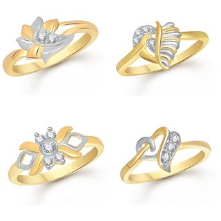 VK Jewels Gold and Rhodium Plated Alloy Rings Combo Set for Women  Girls - COMBO1356G8 VKCOMBO1356G8