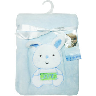 Wonderkids Soft And Comfortable Teddy Bear Emboss Baby Fur Blanket, Blue