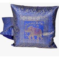 Blue Jacquard Fine Silk Cushion Cover 2Pc. Set 805 CUS805