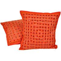 Mirror Lace Work Cotton Cushion Cover 2Pc. Set 806 CUS806