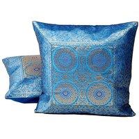 Blue Jacquard Fine Silk Cushion Cover 2Pc. Set 808 CUS808
