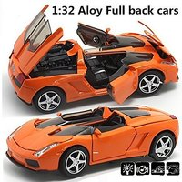 Berry President Best Quality Alloy Supercar Car Model Vehicle Simulation Toy for Children 1:32 Scale Model Electric Pull Back Diecast Toy Cars Sound & Light - Birthday Christmas Gift (Orange)
