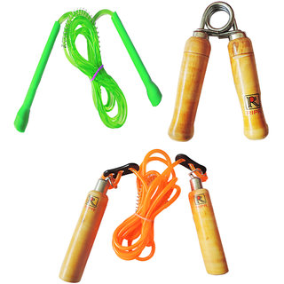 RIPR Job lucky combo (Wooden skipping rope, Hand Gripper and pencil skipping rope)