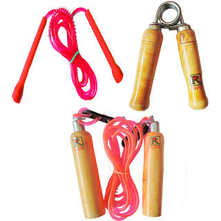 RIPR Jump Jump combo (Wooden skipping rope, Hand Gripper and pencil skipping rope)