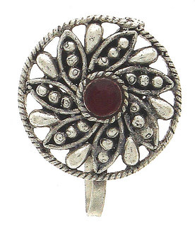 Anuradha Art Silver Colour Styled With Maroon Colour Classy Designer Press On Nose Ring/ Pin For Women/Girls
