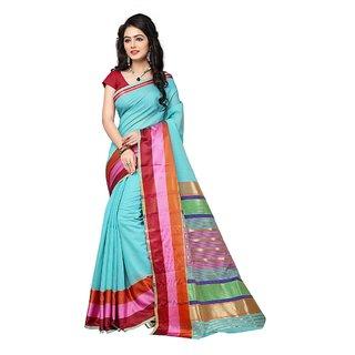 Indian Fashionista Multicolor Cotton Checks Saree With Blouse