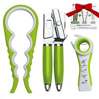 LA&V Manual Can Opener Smooth Edge - Jar Opener 4 In 1 - 5 in 1 Multi Kitchen Tool - Set of Bestseller 3 Manual Openers in Gift Box - High Quality Professional Heavy Duty Dishwasher Safe