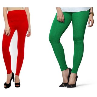 S Redish Red ,Green Ankle Length Viscose Legging (With Mayani)