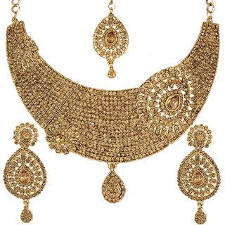 Jewels Gold Elegant Traditional Antique Party Wear Simple Designer Necklace Set For Women  Girls