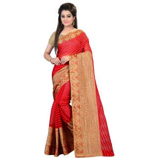 Glory sarees Red Brasso Self Design Saree With Blouse
